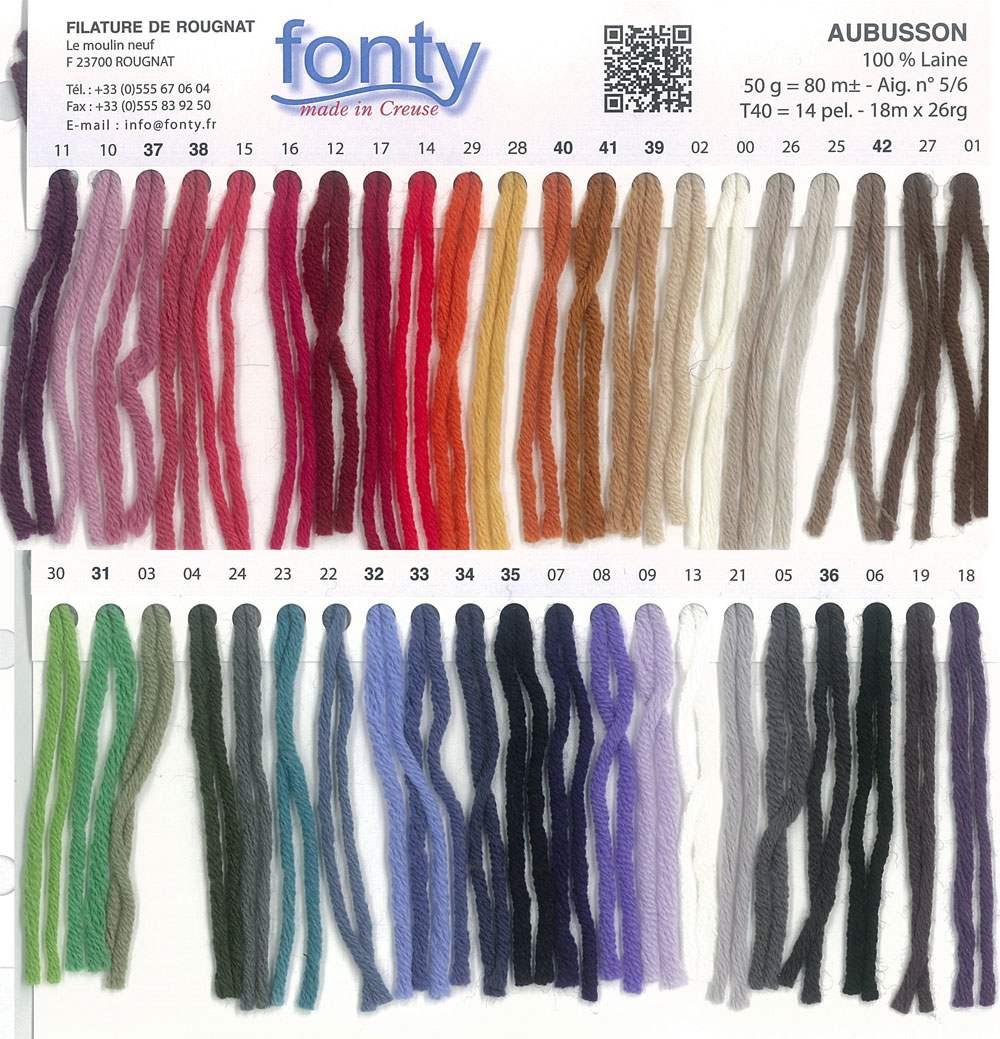 gamme couleurs aubusson des filatures fonty