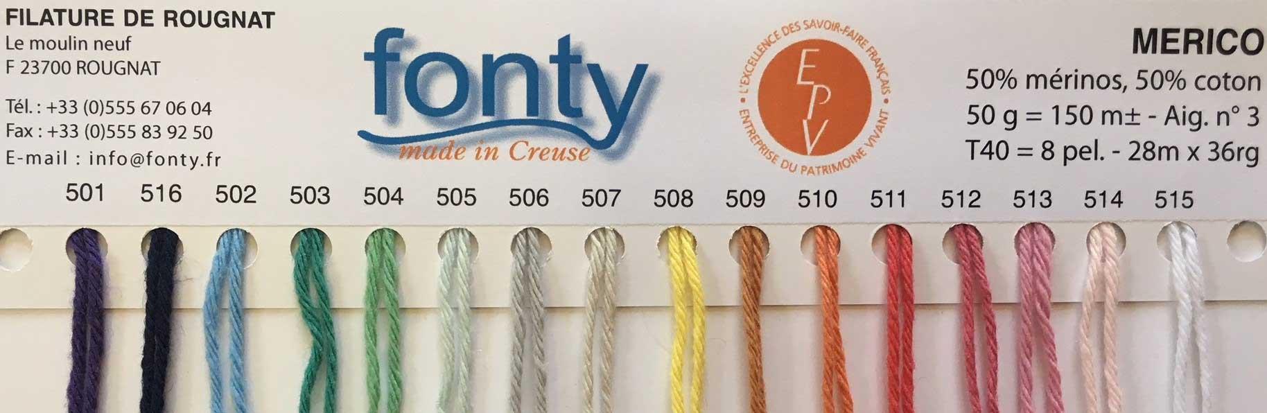 Gamme couleur Merico Fonty - Merinos et Coton